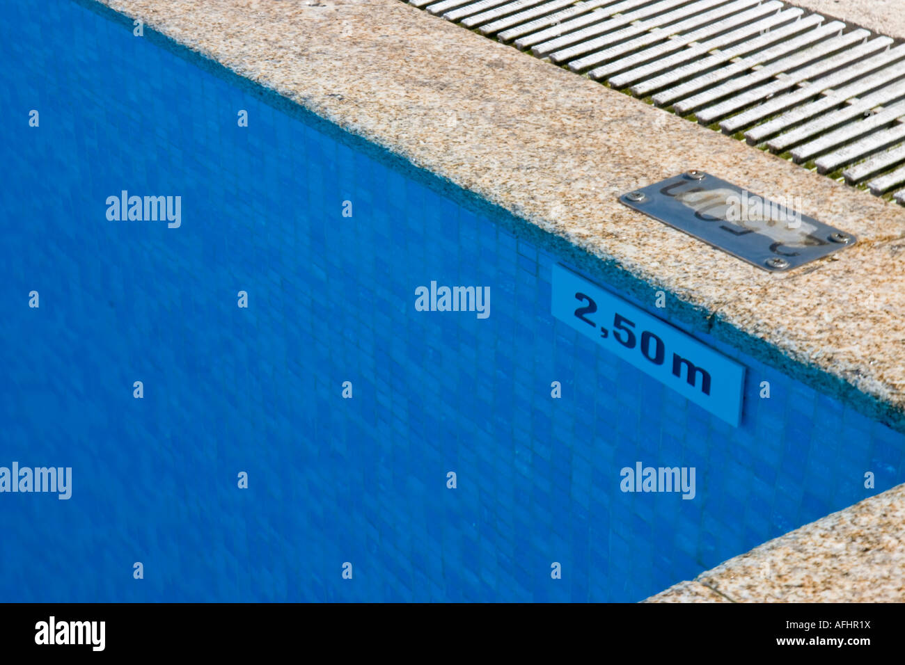 swimming pool 2 50 meter depth sign stock photo 13953541 alamy. Black Bedroom Furniture Sets. Home Design Ideas