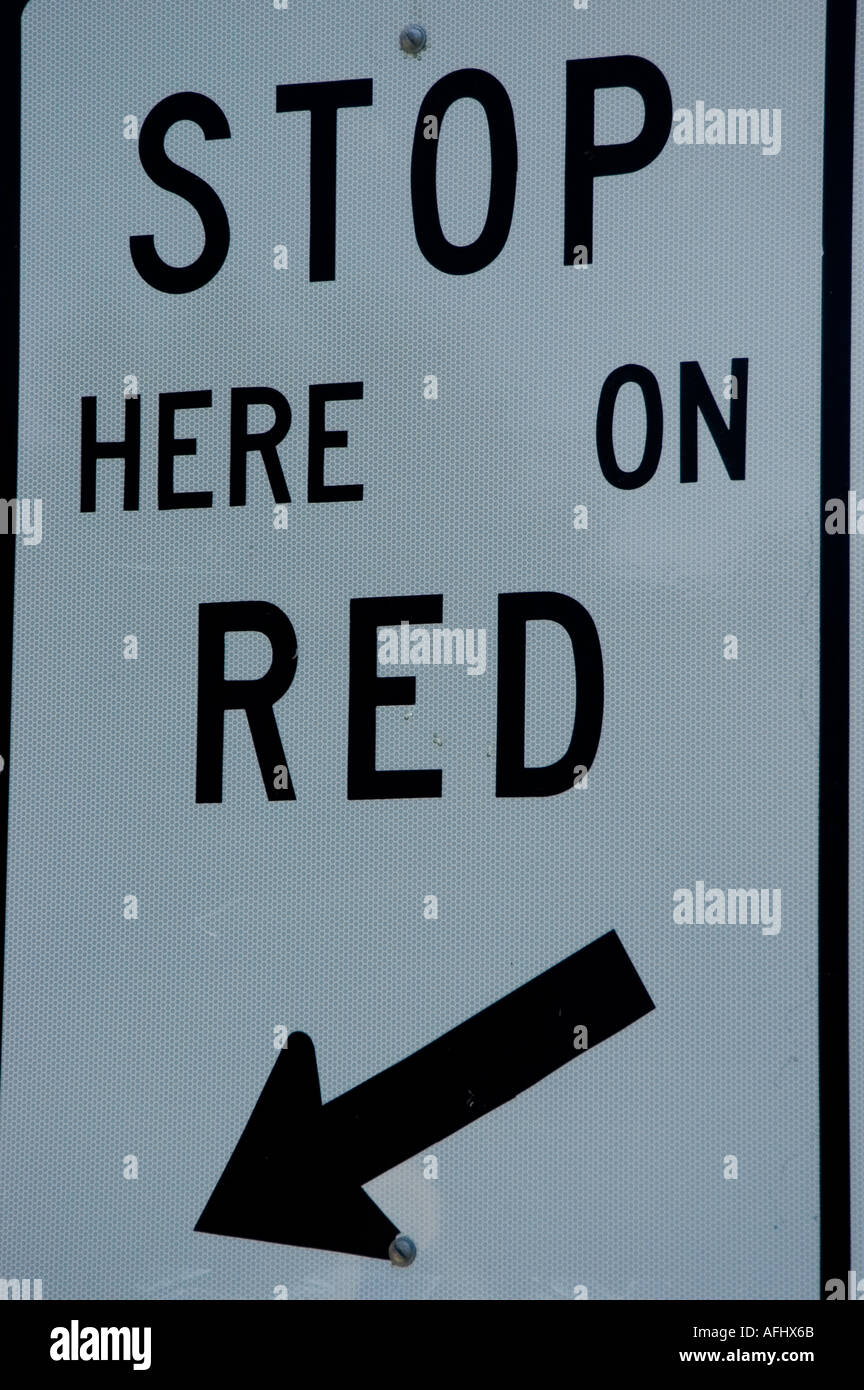 Stop Here On Red Traffic Sign Stock Photo Alamy