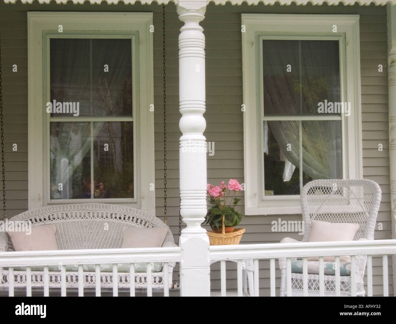 porch of a house in town of sandwich cape cod massachussetts united states of america - Stock Image