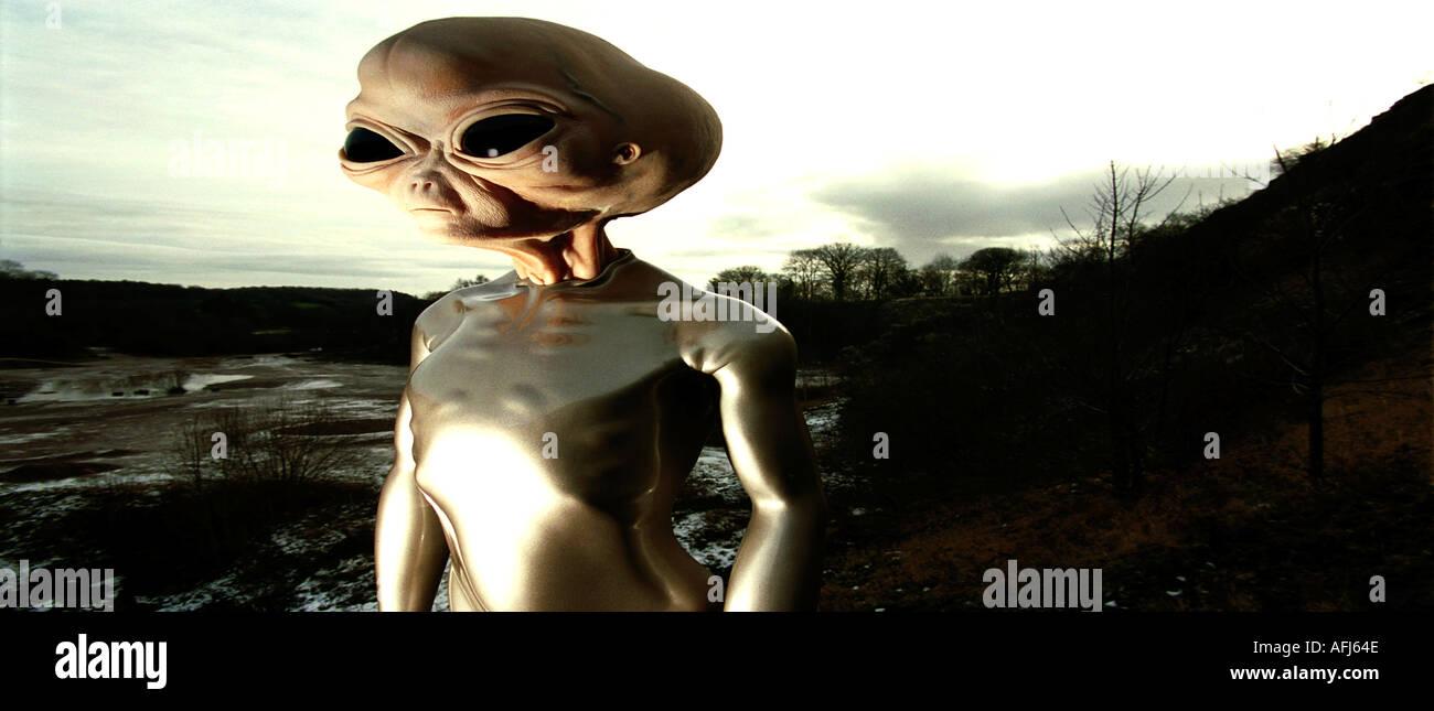 Model alien produced at Trefonen for Roswell Museum, USA. - Stock Image