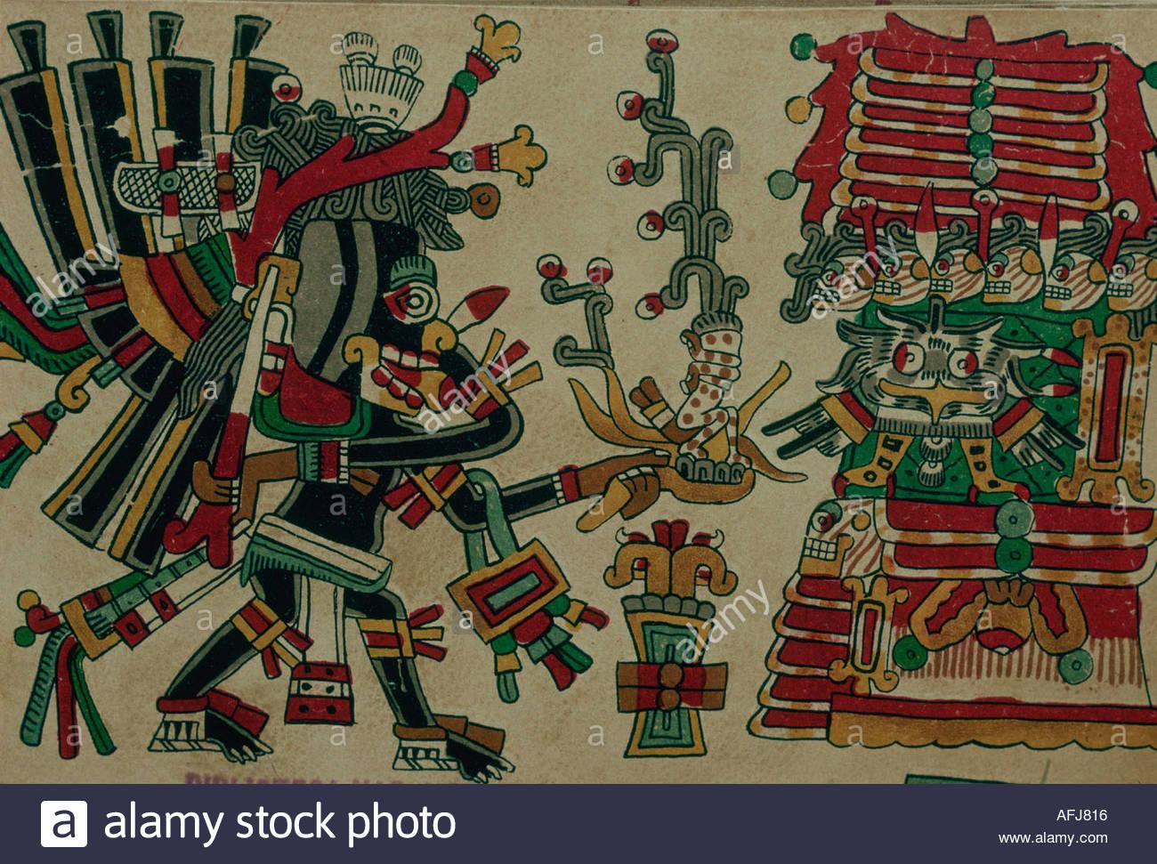 MEXICO Aztec codex Cospiano called also Messicano de Bologna representing a ritual of war. Coll. Mexico National Library. - Stock Image