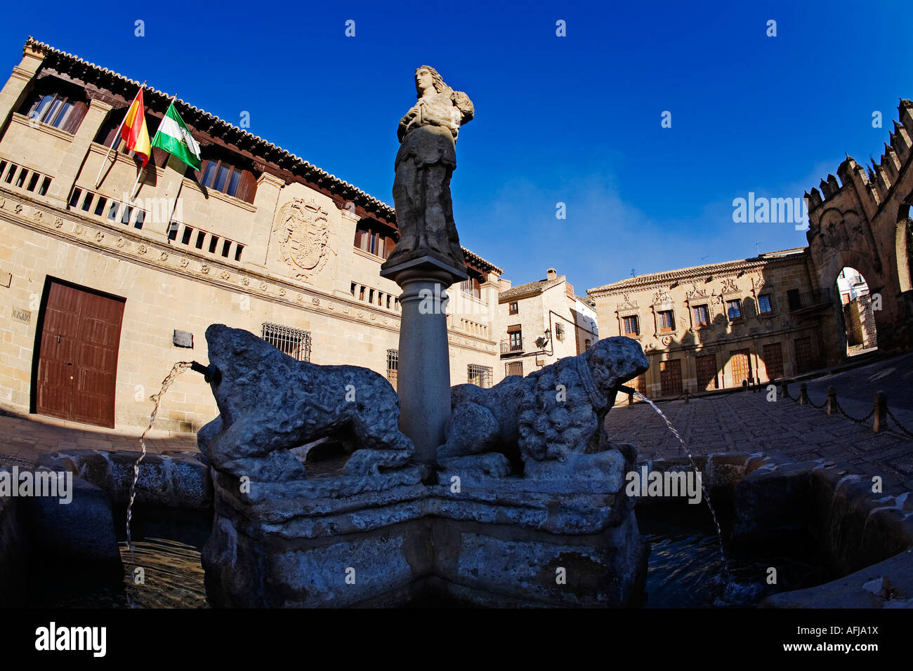 ource of the lions square of populo old slaughters baeza patrimony of humanity jaen Andalusia Spain - Stock Image