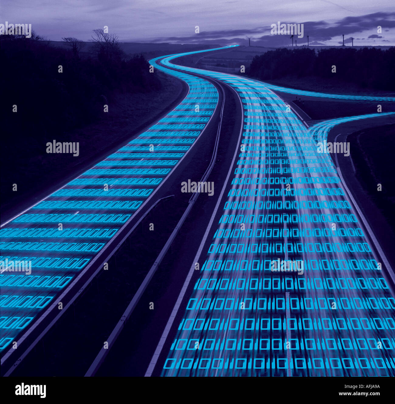 Data Stream Data flowing along a highway at dusk - Stock Image