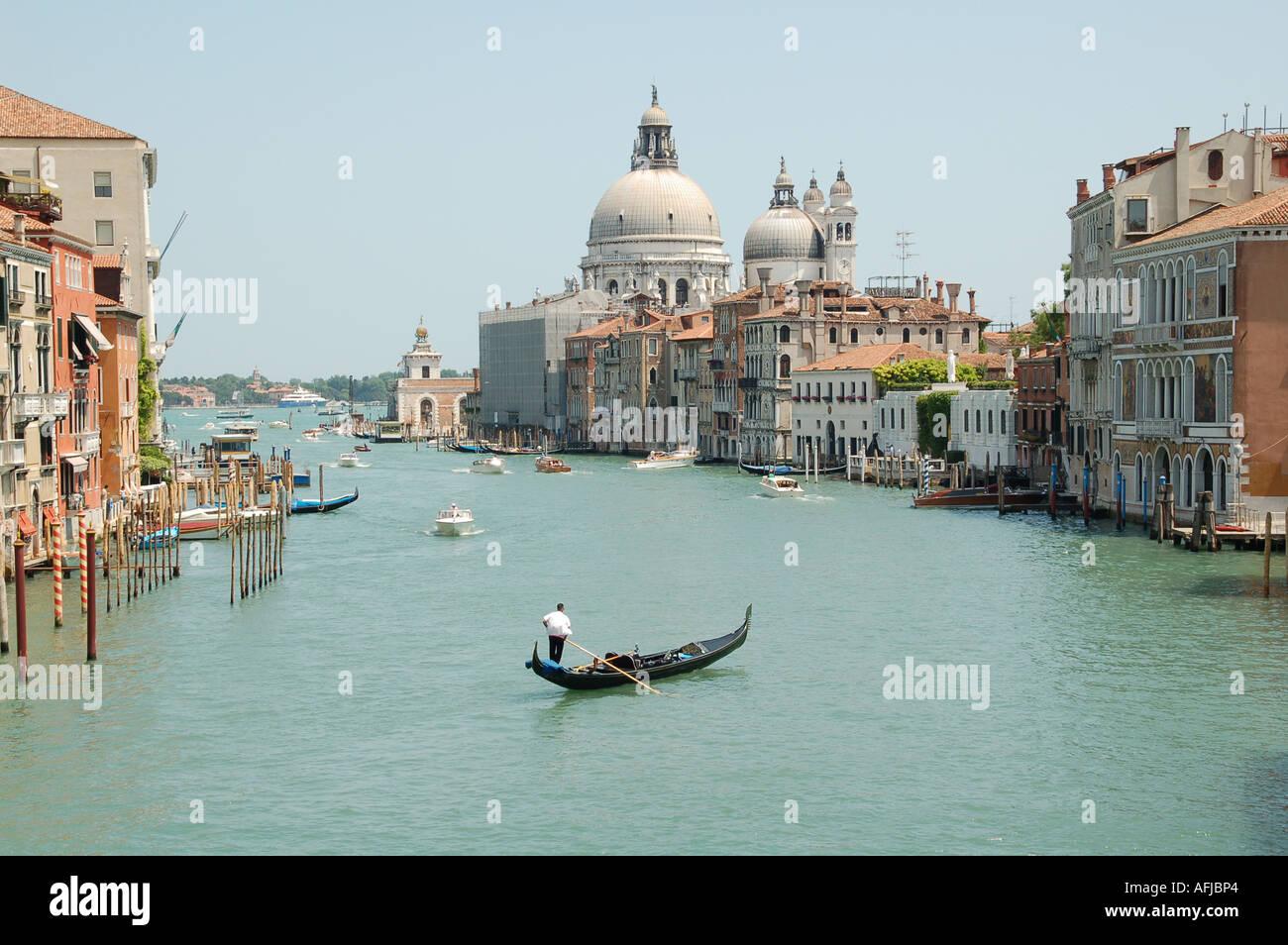 Chiesa della Salute in Dorsoduro view from Accademia Bridge Venice Italy - Stock Image