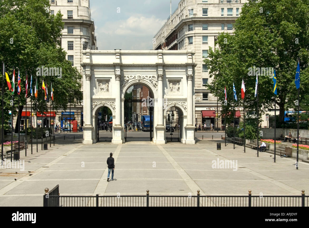 Tyburn Way Marble Arch close to Oxford Street London - Stock Image