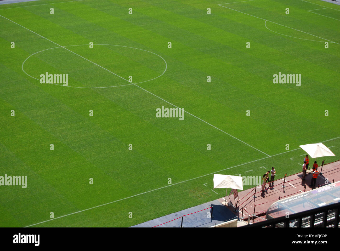 detail of lawns of Barcelona football stadium Spain - Stock Image