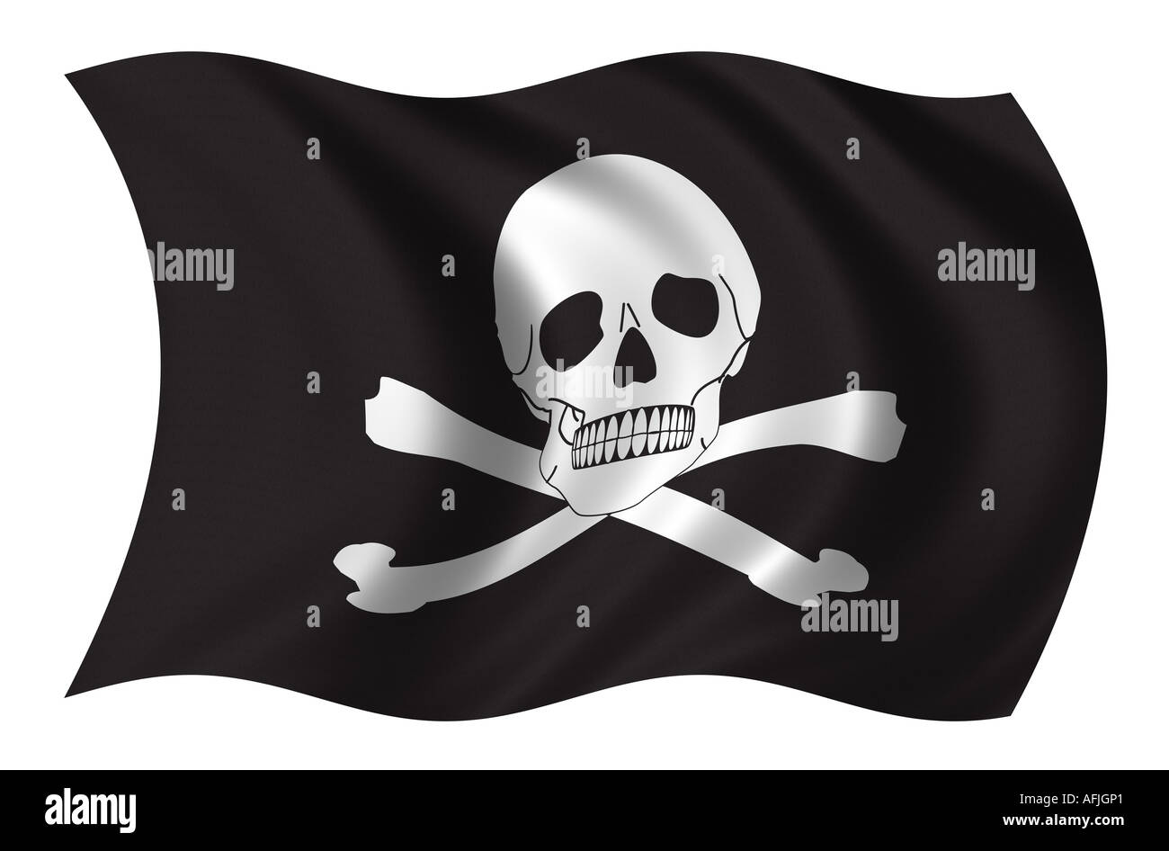 Pirates flag waving in the wind - Stock Image