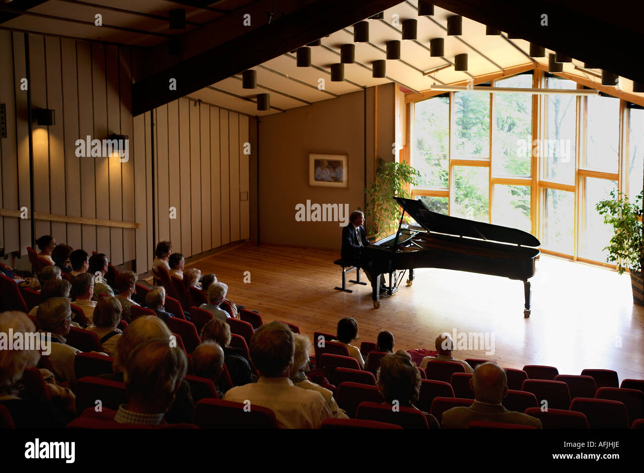 Norway. Bergen. Troldhaugen. Concert of Greig's music in concert hall - Stock Image