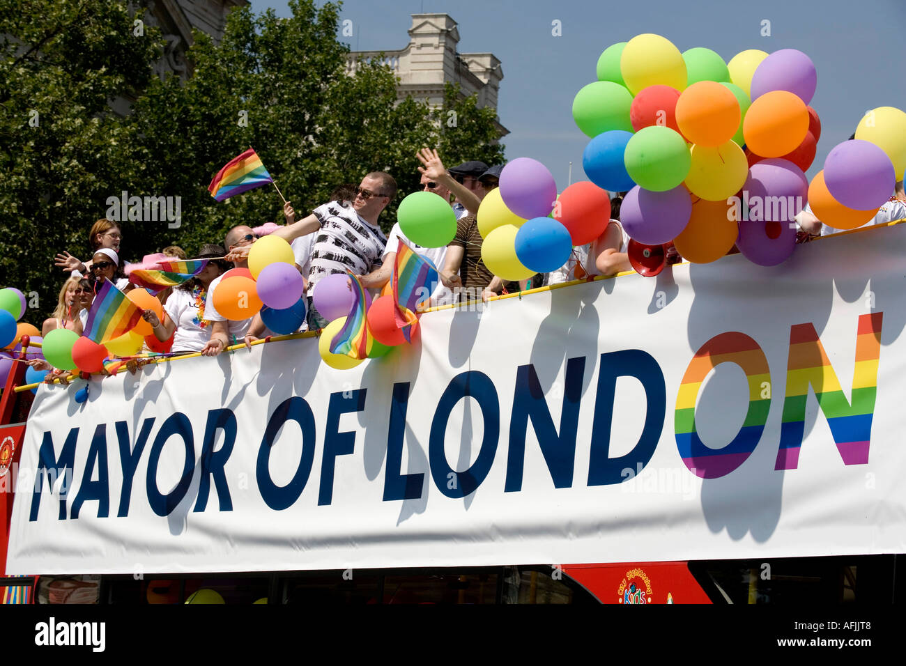 The double deck bus sponsored by the Mayor of London at the EuroPride London - Stock Image