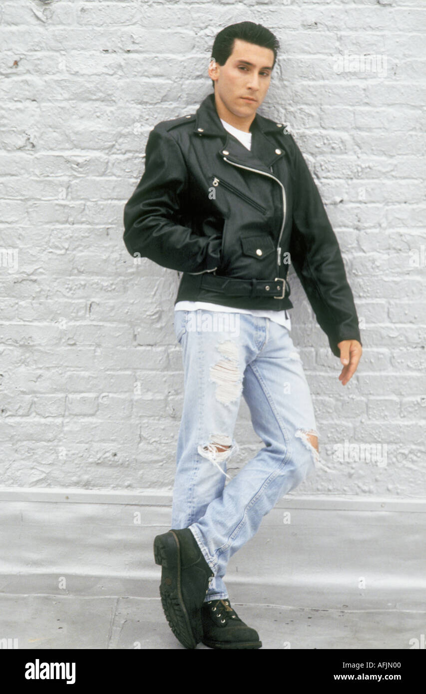 Young Caucasian Man Wearing Leather Motorcycle Jacket