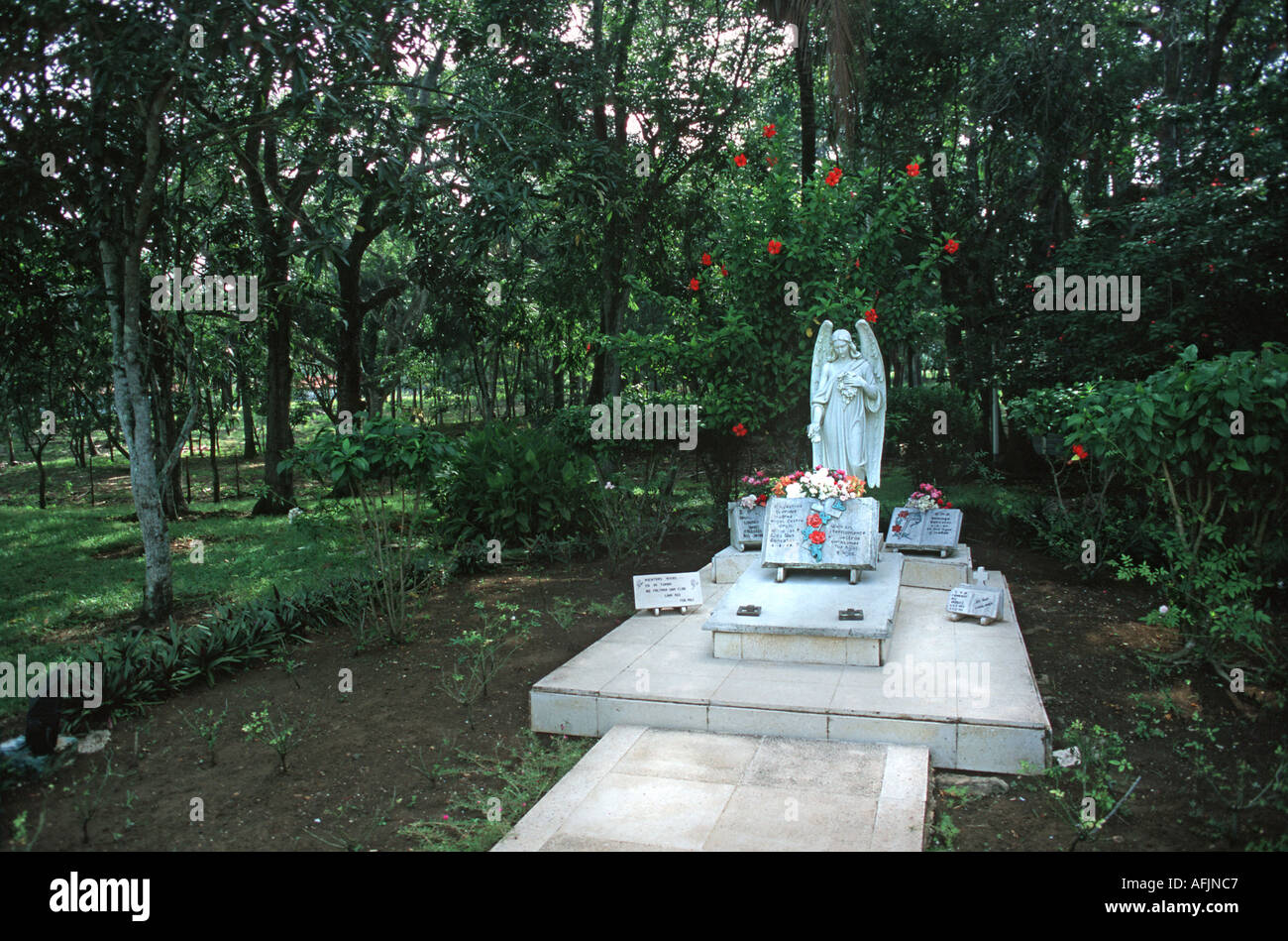 Fidel Castro s parents graves at the family home in Biran Oriente Province Cuba Stock Photo