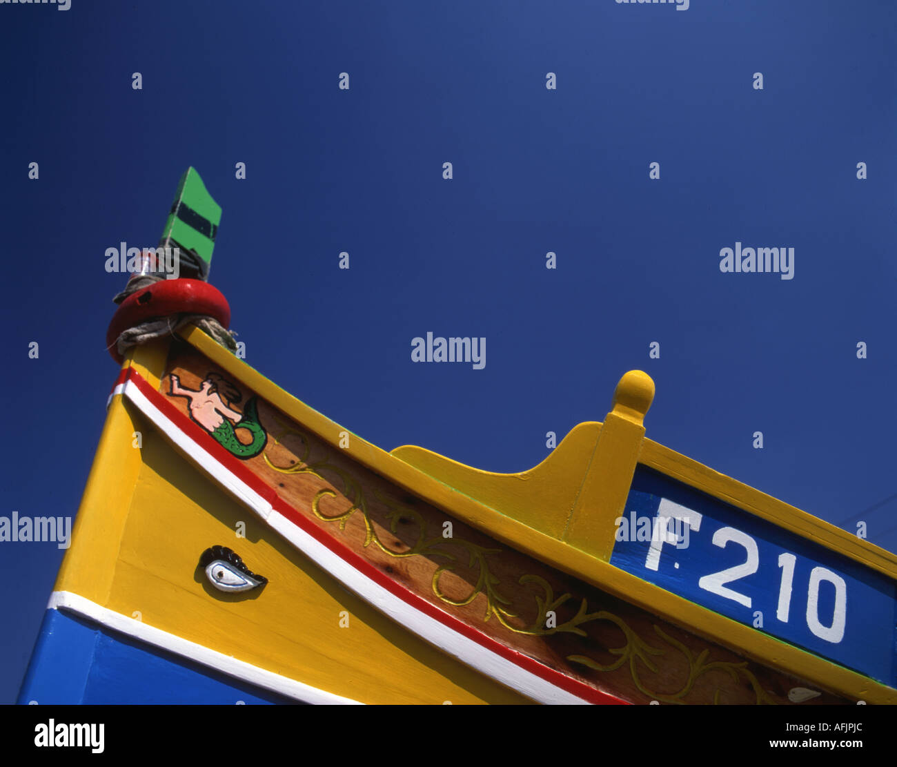 Luzzu fishing boat Marsaxlokk Malta showing eye of Oris on prow Stock Photo