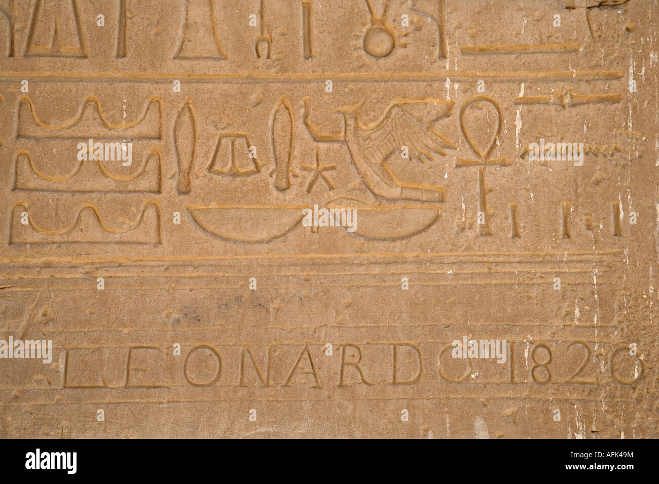 Hieroglyphs on the walls of the Ramesseum, Luxor, Egypt - Stock Image