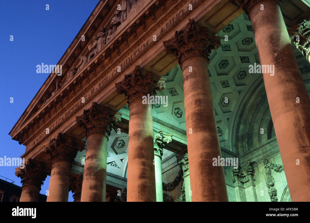 The majestic Royal Exchange building in central London. The Royal Exchange, designed by Sir William Tite and completed - Stock Image