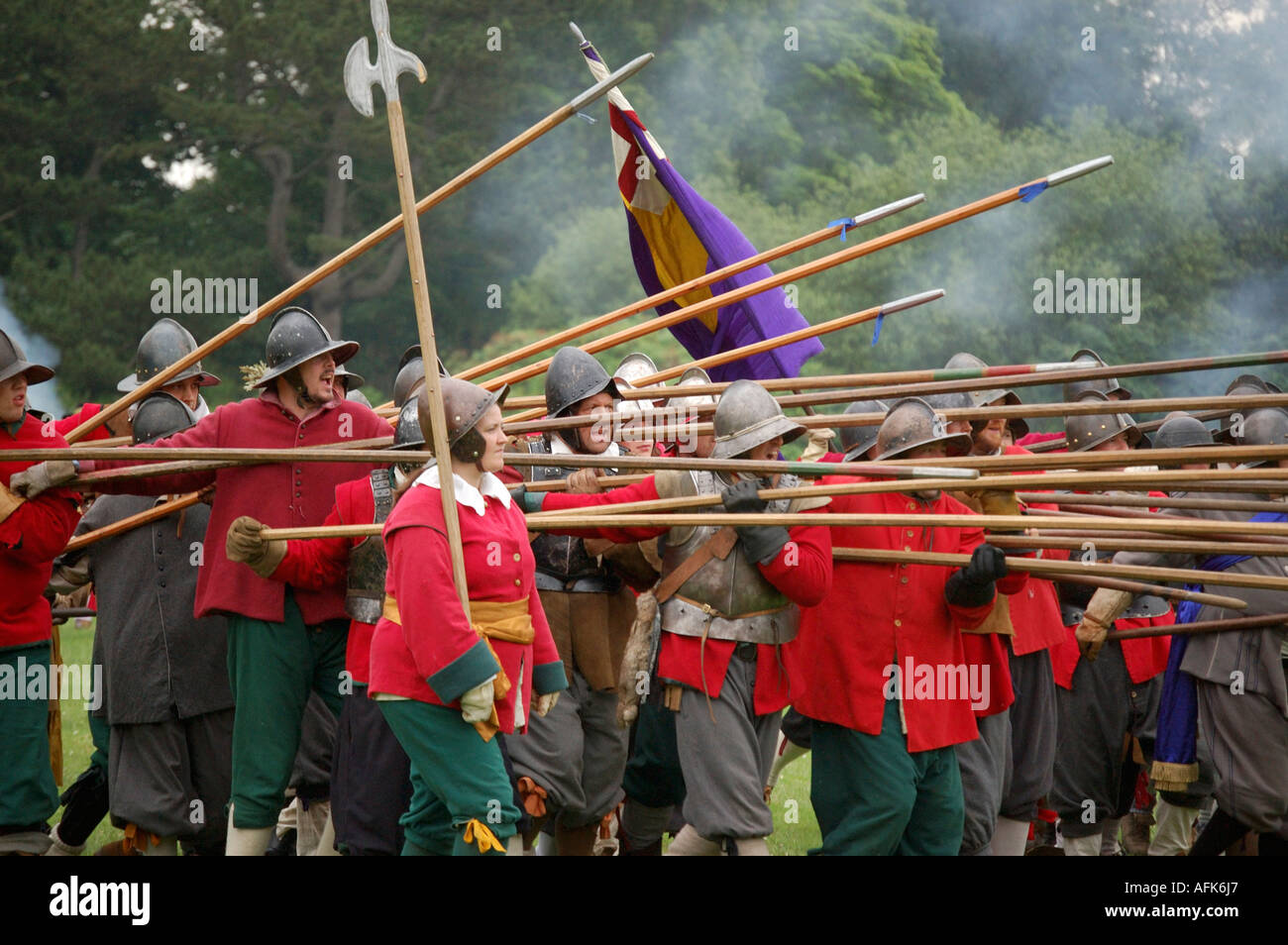 English Civil war battle scene, at a English civil war reenactment