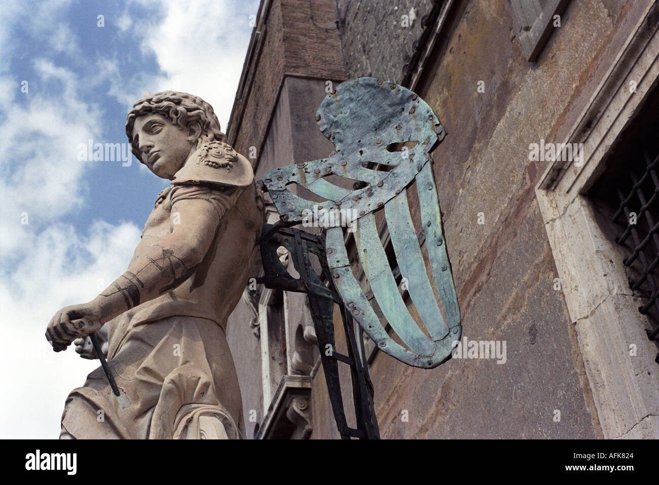 A Michelangelo angel at Castel Sant Angelo in Rome Italy - Stock Image