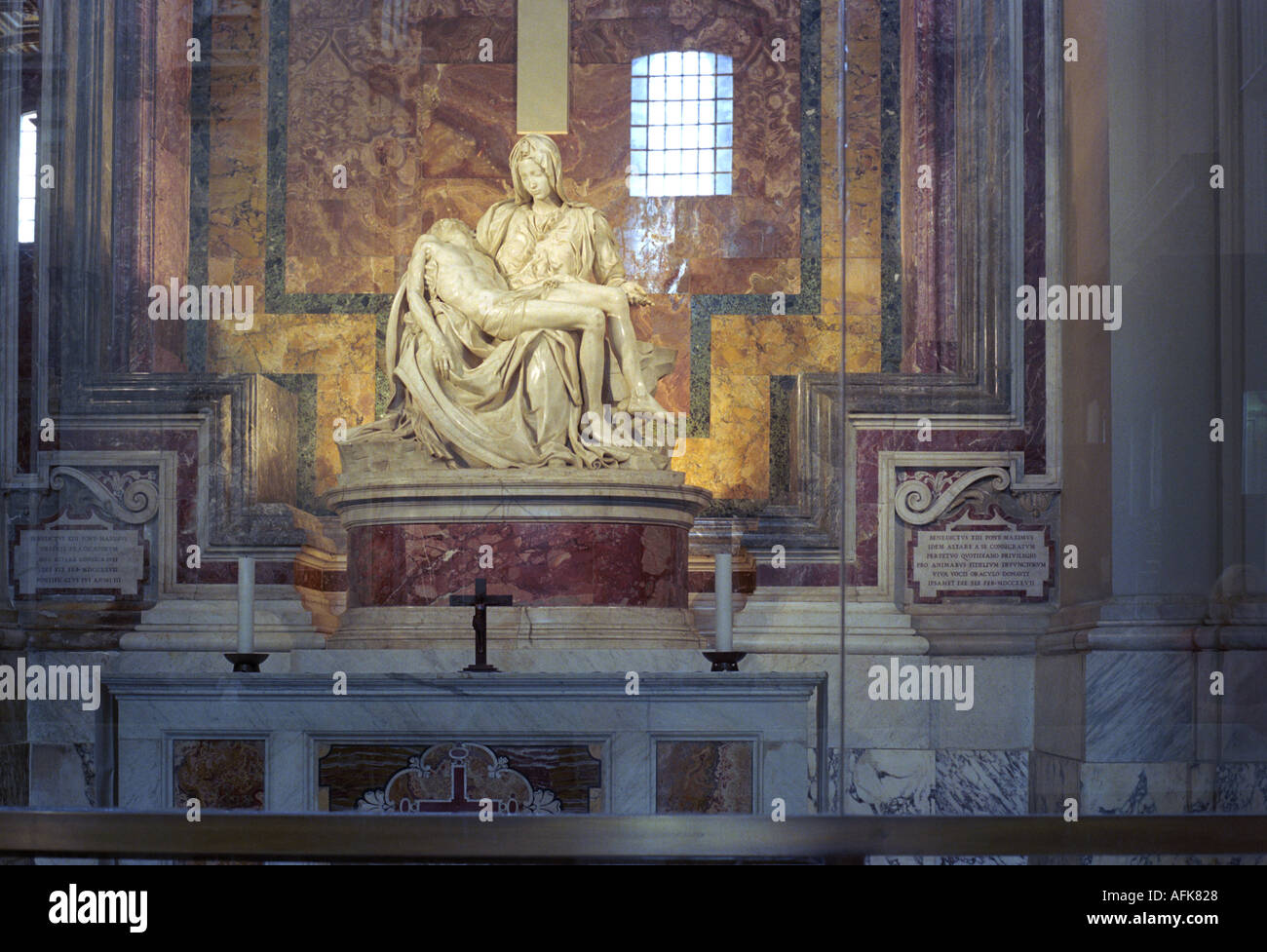 The Pieta by Michelangelo on display in Saint Peter s Basilica in the Vatican City in Rome - Stock Image