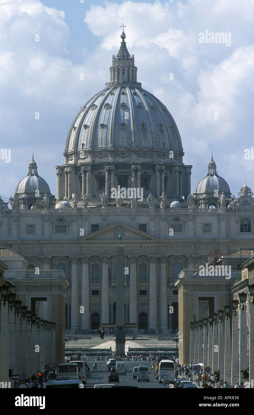 A view of Saint Peter s Basilica in Rome s Vatican City - Stock Image
