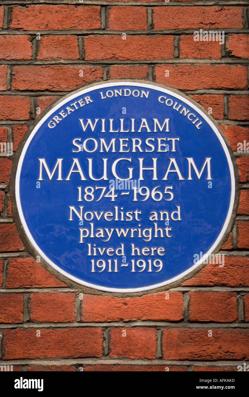 Greater London Council Blue plaque for William Somerset Maugham. 6 Chesterfield Street Mayfair London W1 England - Stock Image