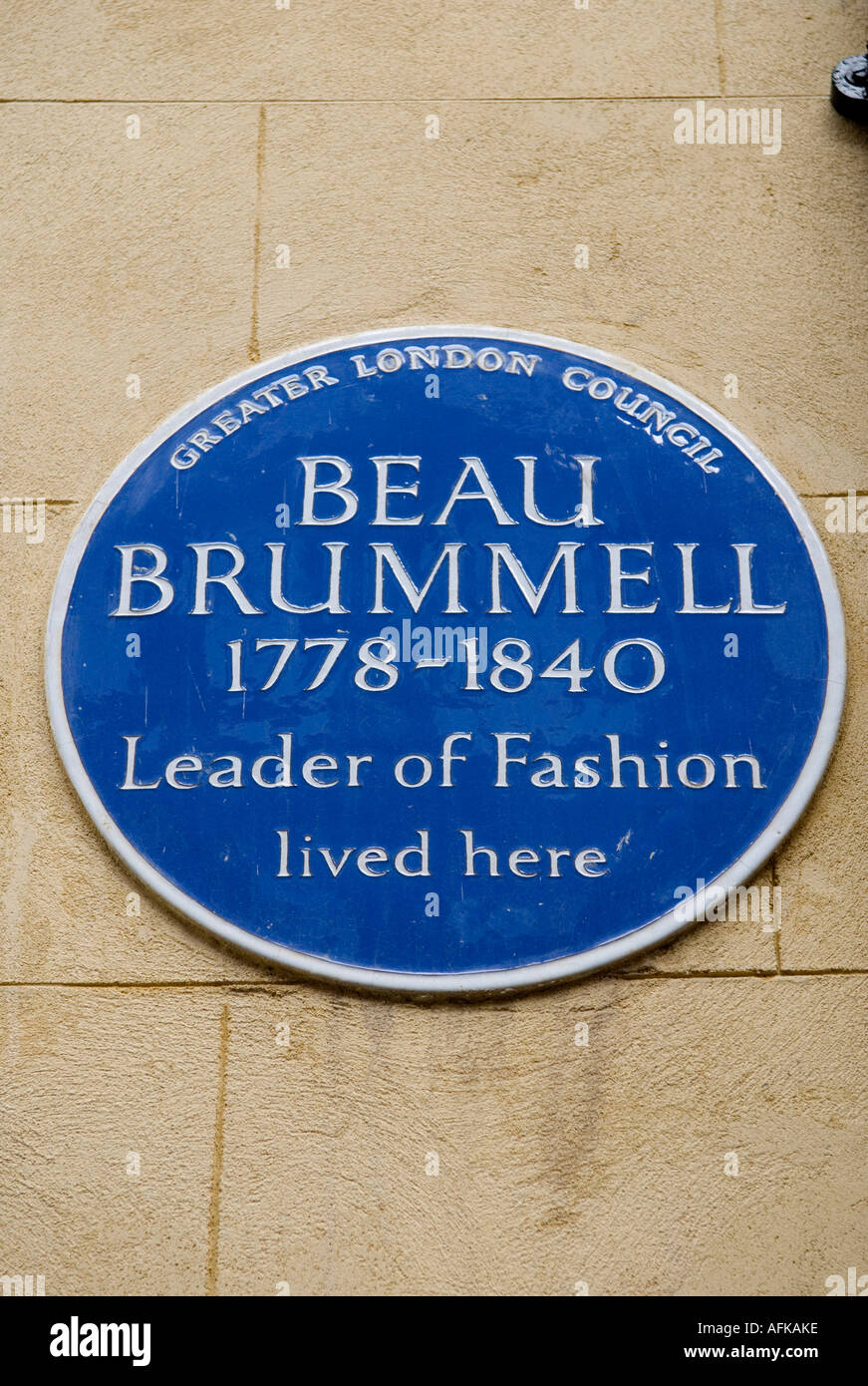 Greater London Council Blue plaque for Beau Brummell.  4 'Chesterfield Street' Mayfair London W1 England - Stock Image