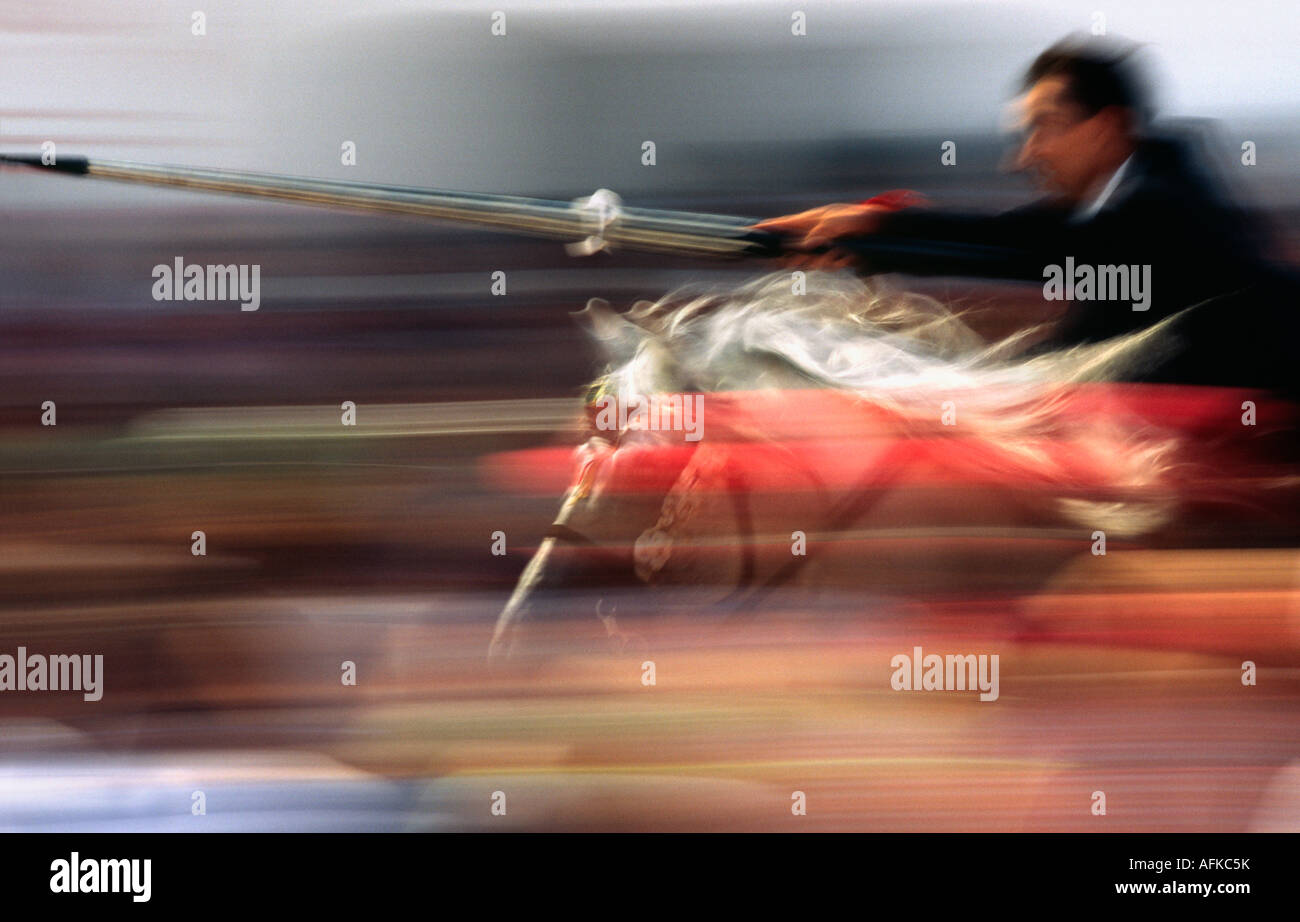 A rider on horseback speeds through the crowd attempting to strike a target with a lance. - Stock Image