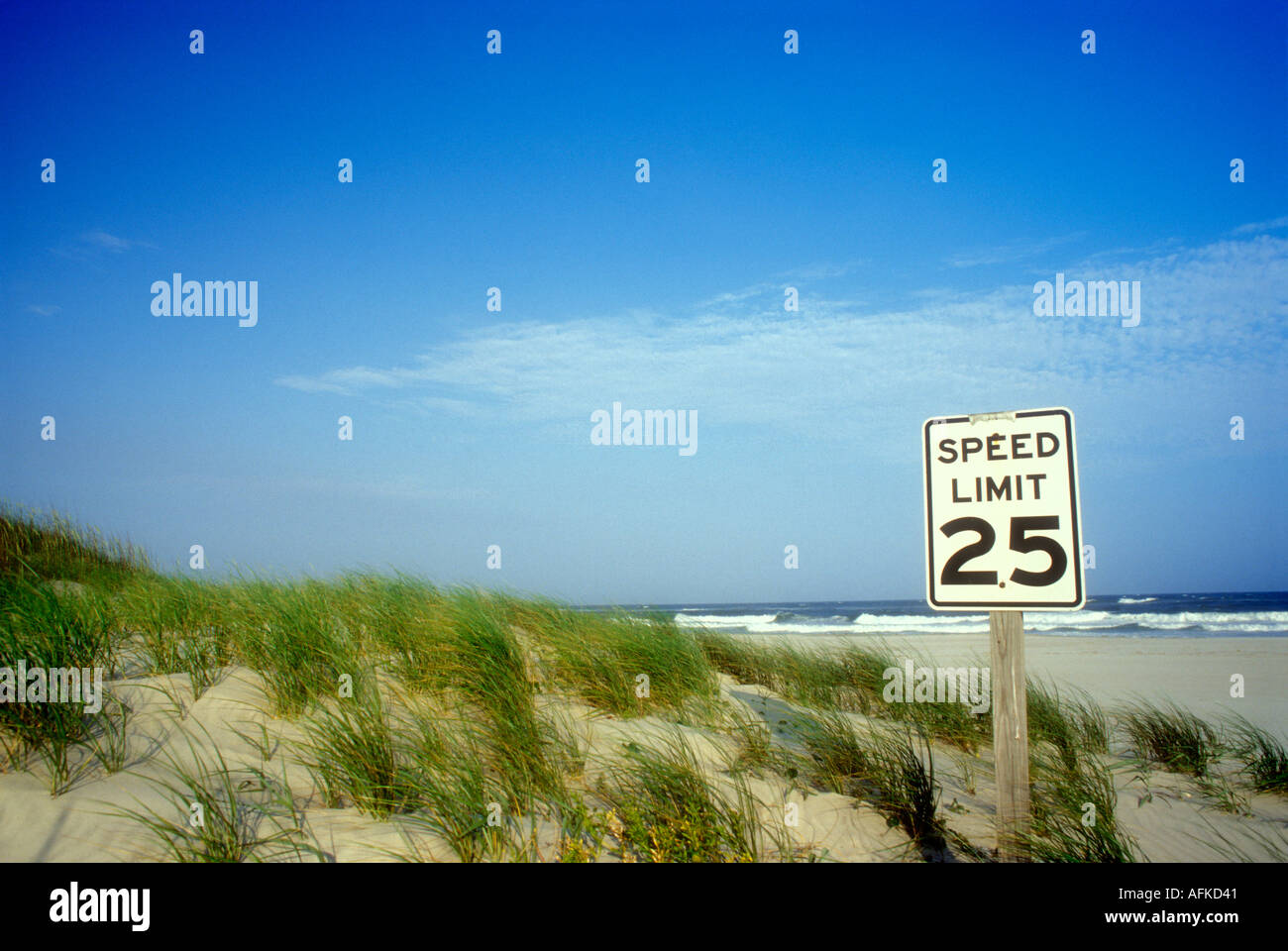 25mph speed limit sign on sand dunes in the Outer Banks of North