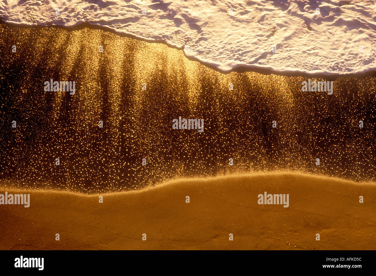 View of waves washing onto beach overhead angle California - Stock Image