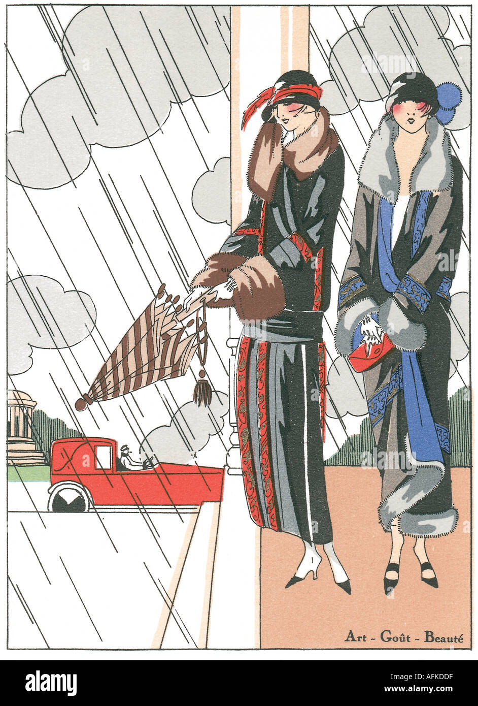 Fashion plate from Art Gout Beauté showing day wear 1920s rain car outside - Stock Image