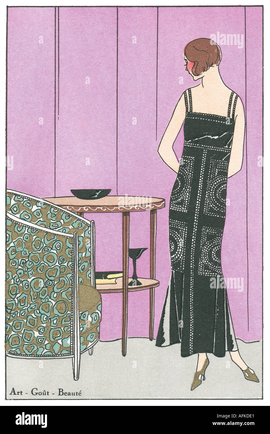 Fashion plate from Art Gout Beauté showing evening wear 1920s dress ...