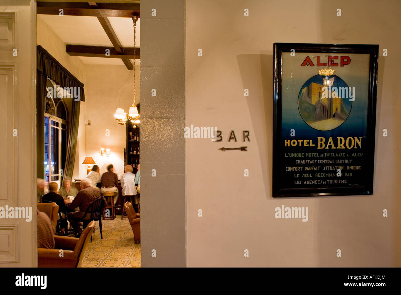 The bar at the Baron Hotel, Aleppo, Syria, favourite haunt of TE Lawrence - Stock Image