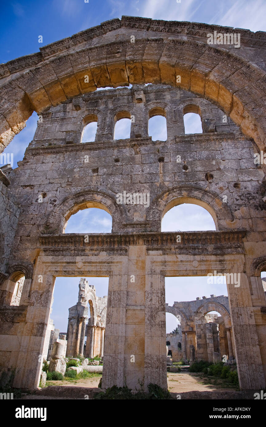 The ruins of the Basilica of St Simeon Stylites the Elder in the hills near Aleppo.  - Stock Image