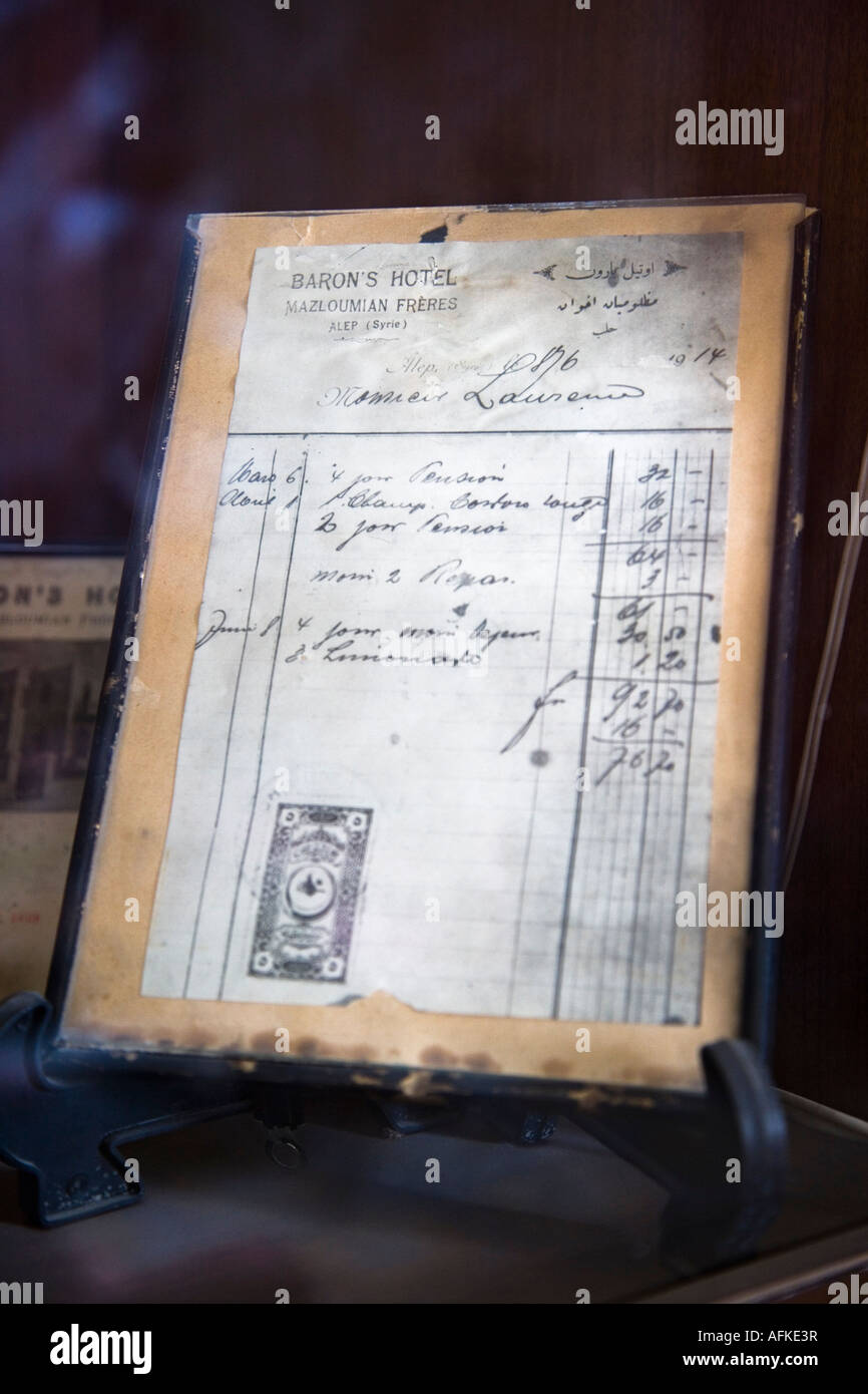 TE Lawrence's old bar bill on display at the Baron Hotel, Aleppo, Syria - Stock Image