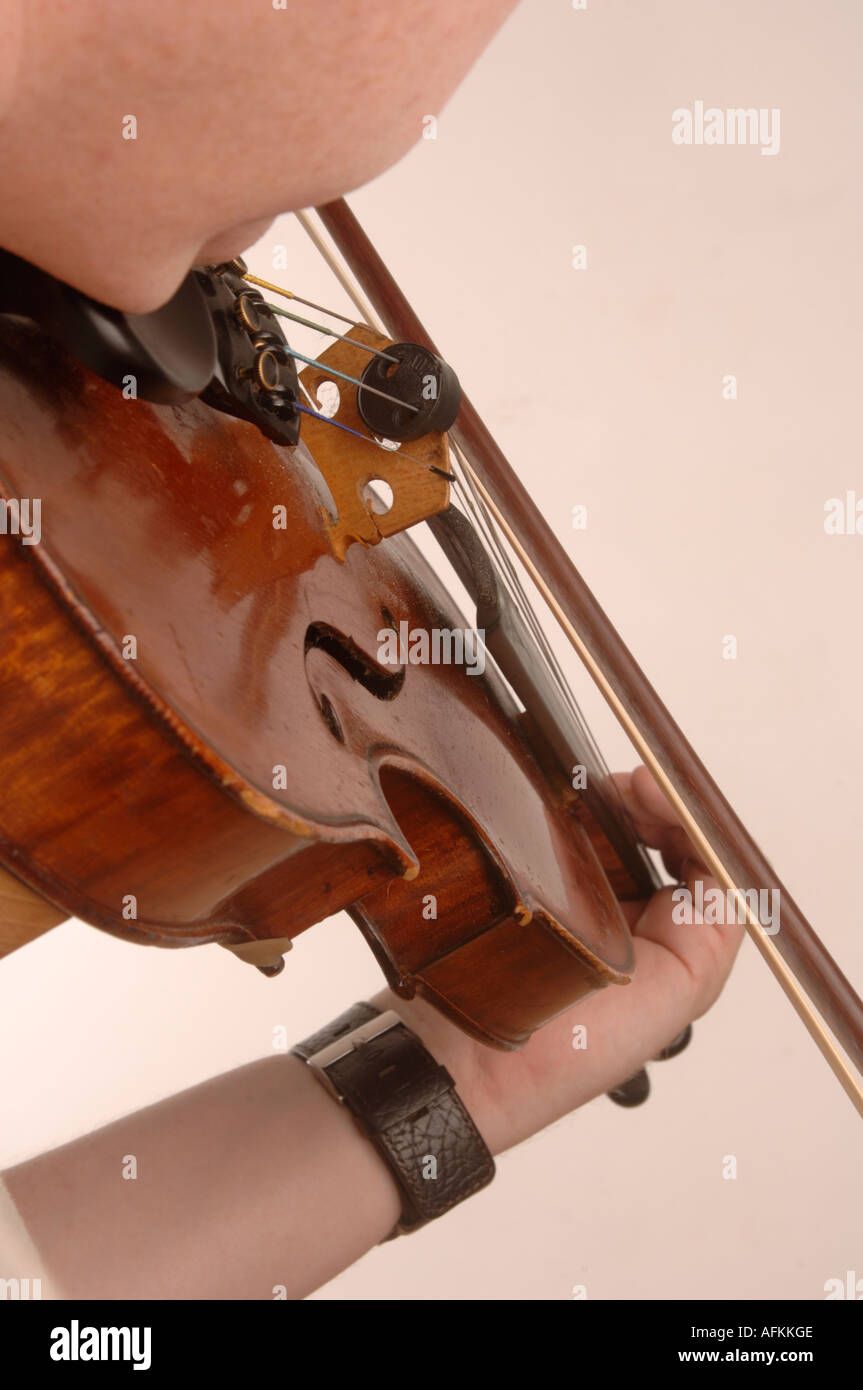welsh folk music - man playing violin fiddle. - Stock Image