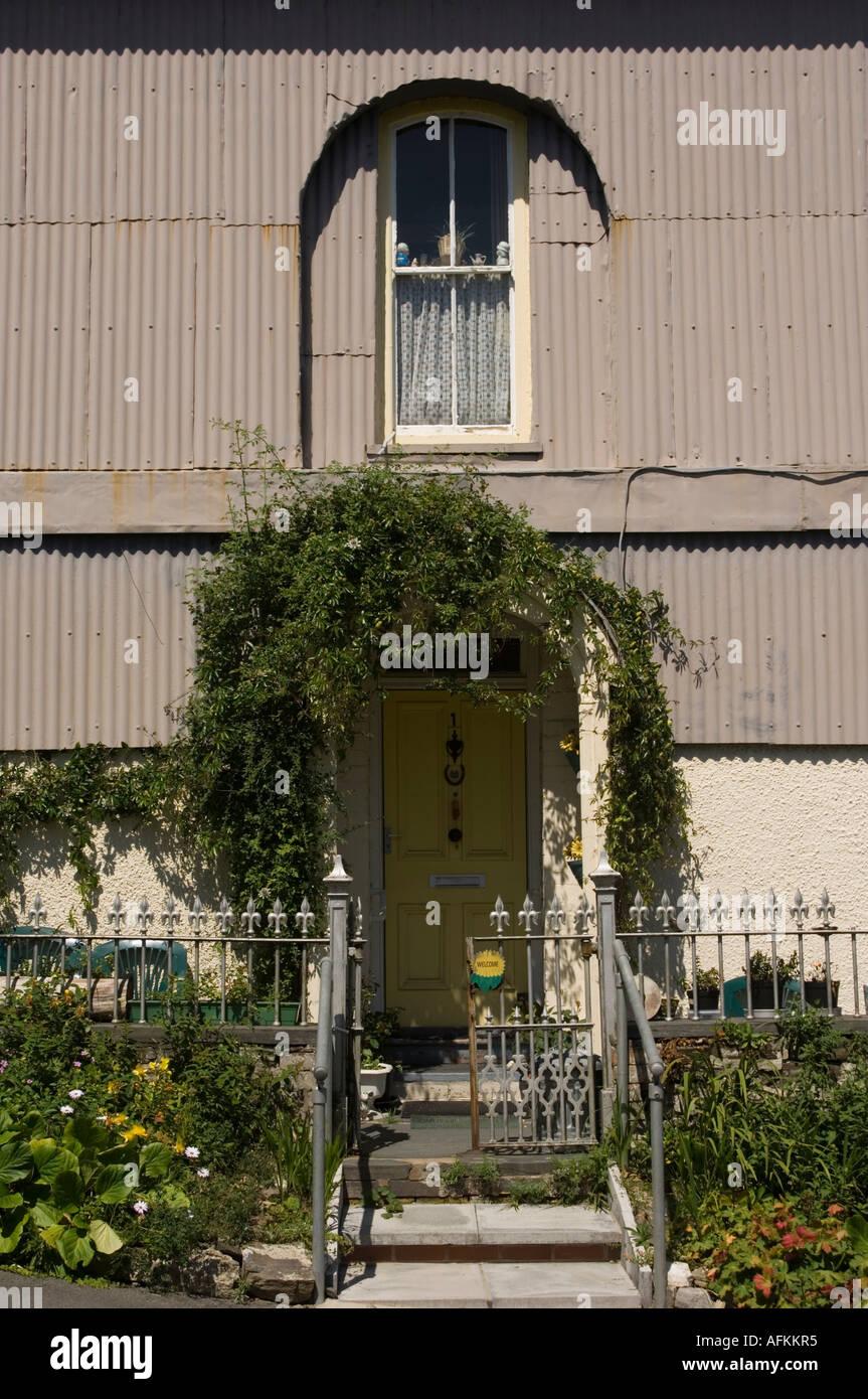 Corrugated Iron Cladding On A House Exterior Llandysul Ceredigion Stock Photo Alamy