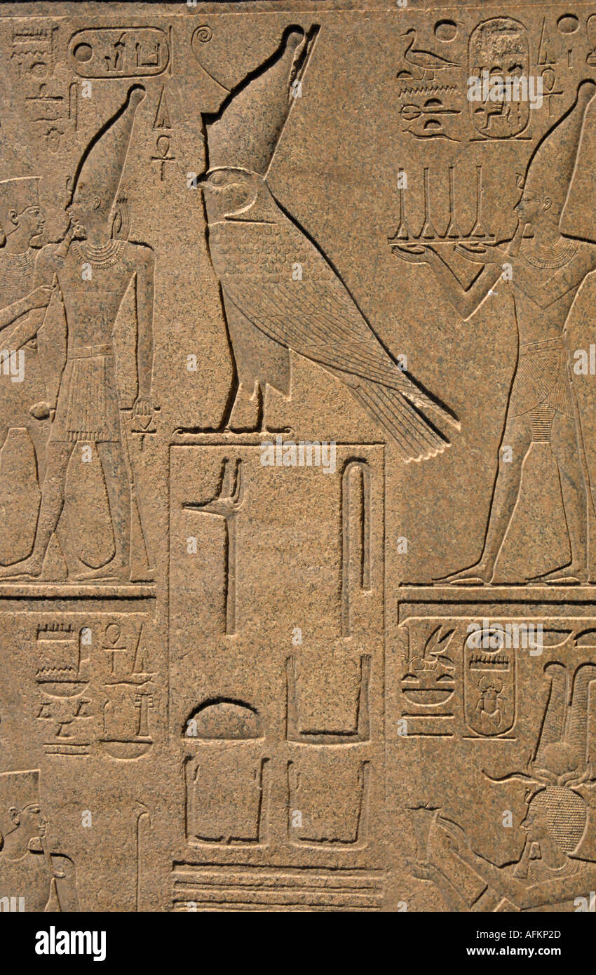 Relief depicting Horus with a crown on the Queen Hatsheput obelisk at Karnak Temple, Luxor, Egypt. - Stock Image
