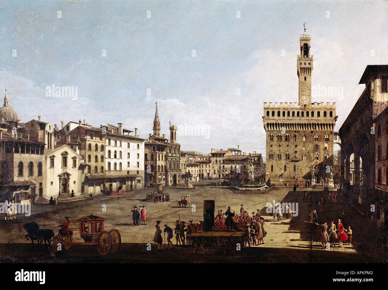 """""""fine arts, Bellotto, Bernardo called Canaletto, (1720 - 1780), painting, """"Piazza della Signoria in Florence"""", circa Stock Photo"""