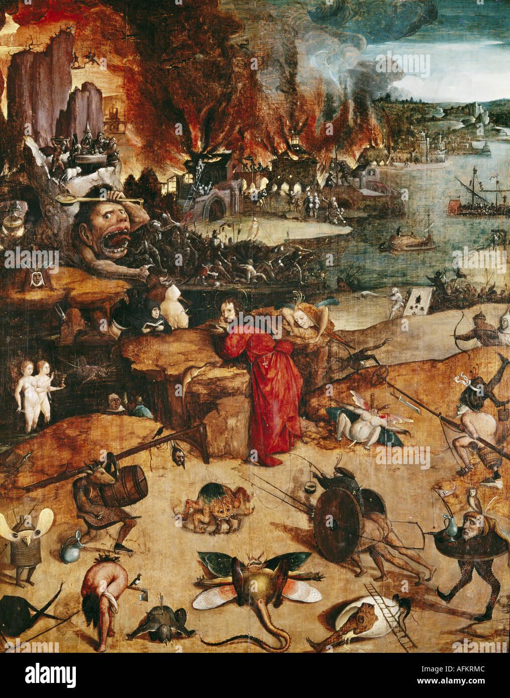 """fine arts, Bosch, Hieronymus (circa 1450 - 1516), painting, ""the temptation of Saint Anthony"", Prado, Madrid, Spain, Stock Photo"