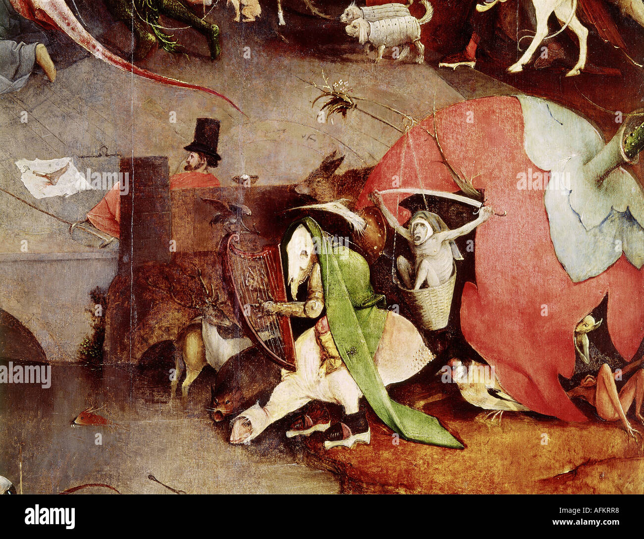 """""""fine arts, Bosch, Hieronymus, (circa 1450 - 1516), painting, """"the temptation of Saint Anthony"""", central panel, Stock Photo"""