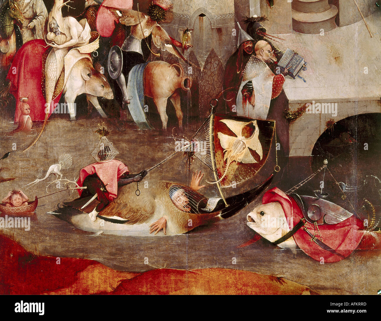 """fine arts, Bosch, Hieronymus, (circa 1450 - 1516), painting, ""the temptation of Saint Anthony"", central panel, Stock Photo"