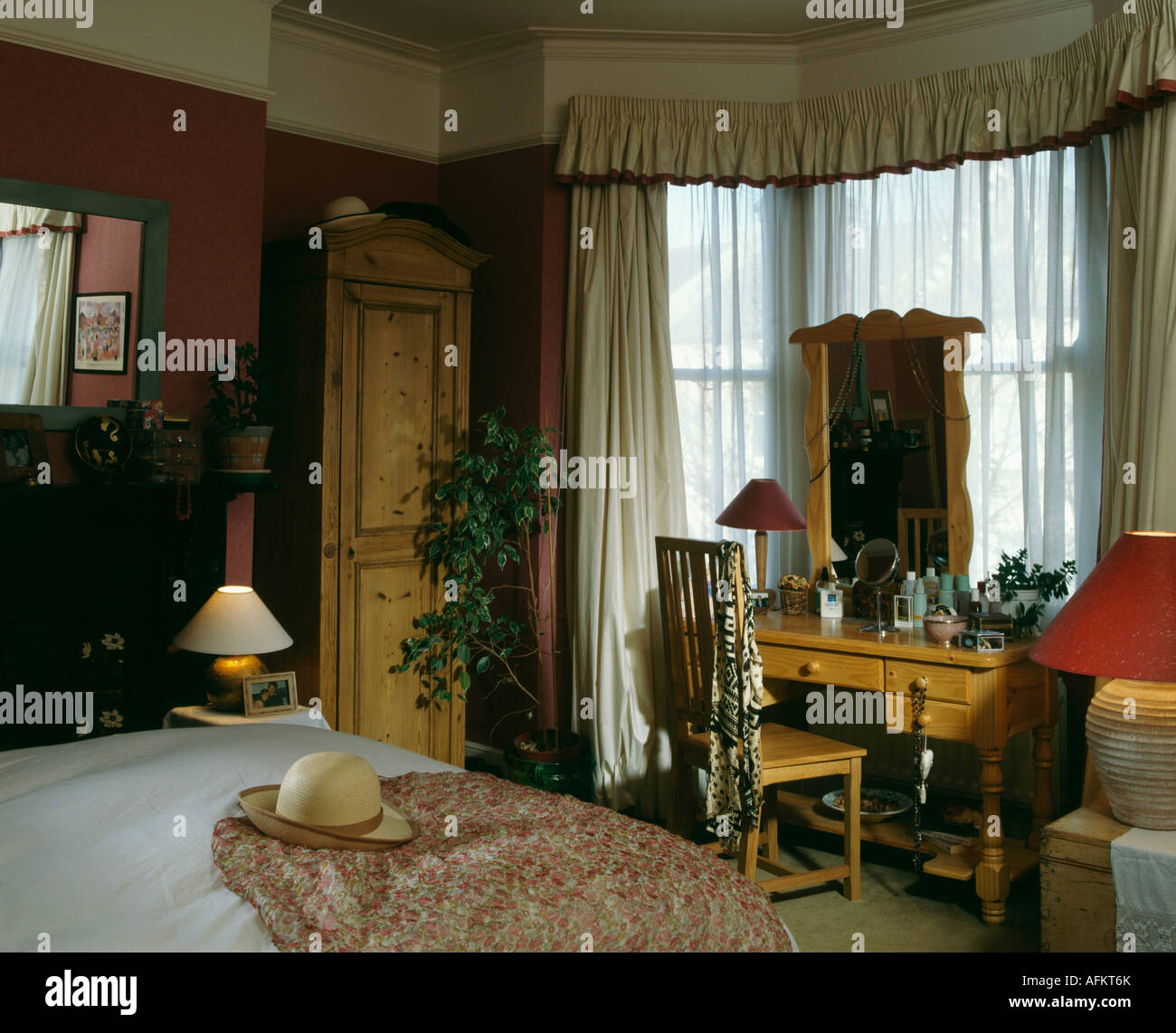 Narrow Pine Wardrobe And Pine Dressingtable In Red Nineties Bedroom