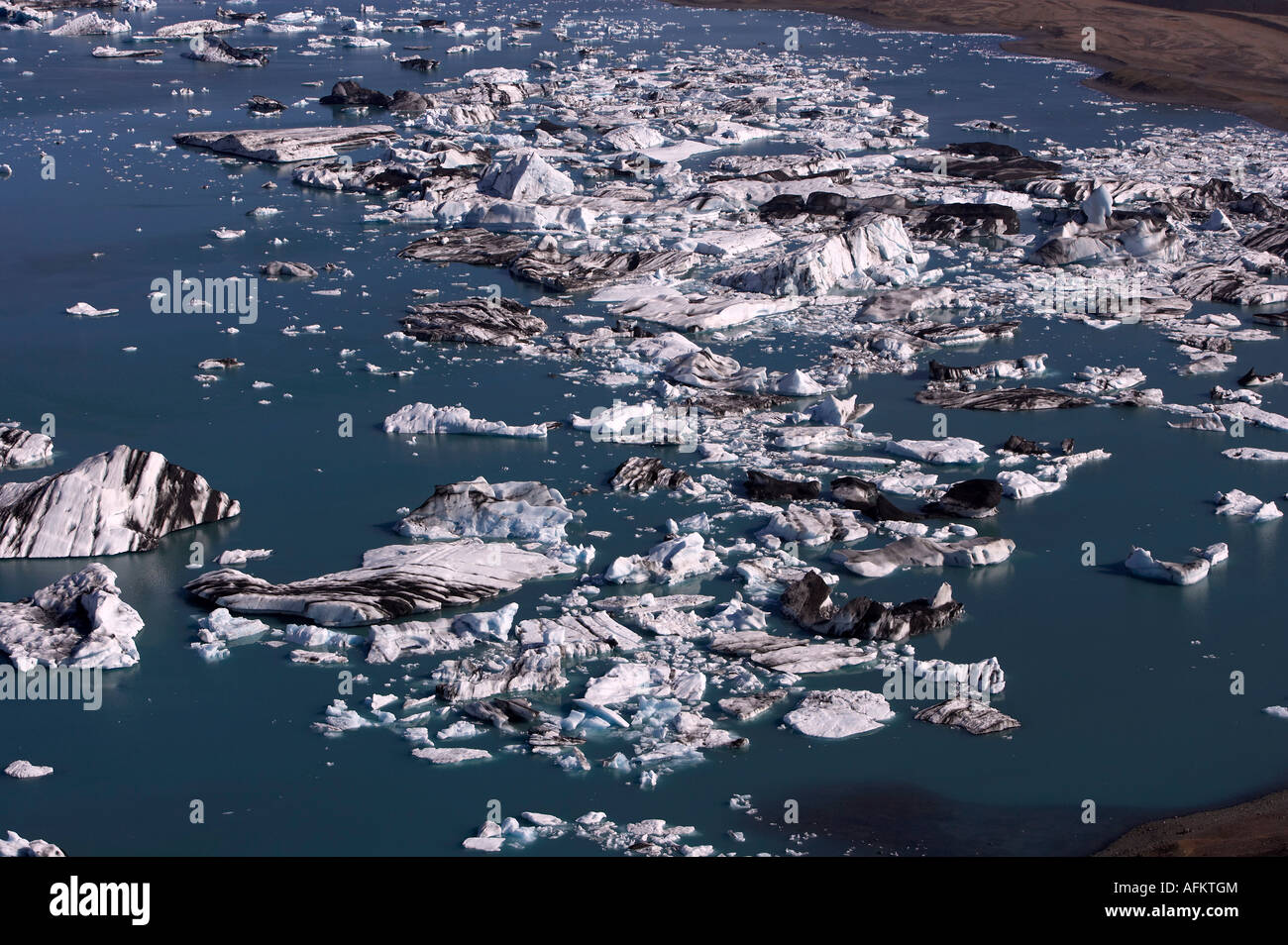 Aerial photo of Ice cubes at the lake Jokulsarlon south east of Iceland - Stock Image