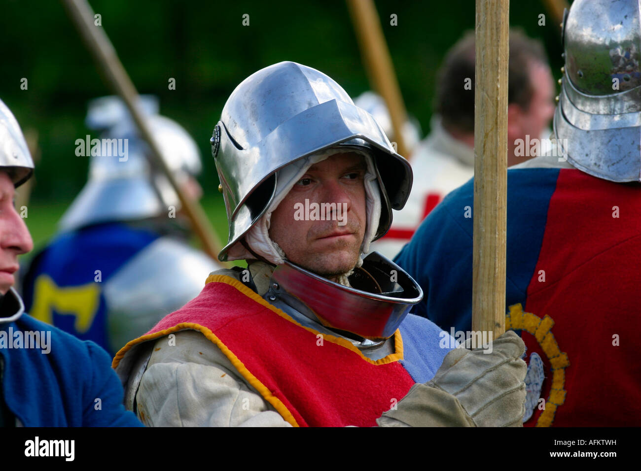 Rufford Abbey Country Park living history weekend medieval life archery and combat 1472 infantry men at arms -bill - Stock Image