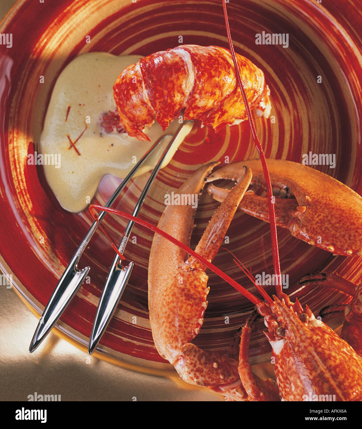 LOBSTER WITH GREEN TEA SABAYON - Stock Image
