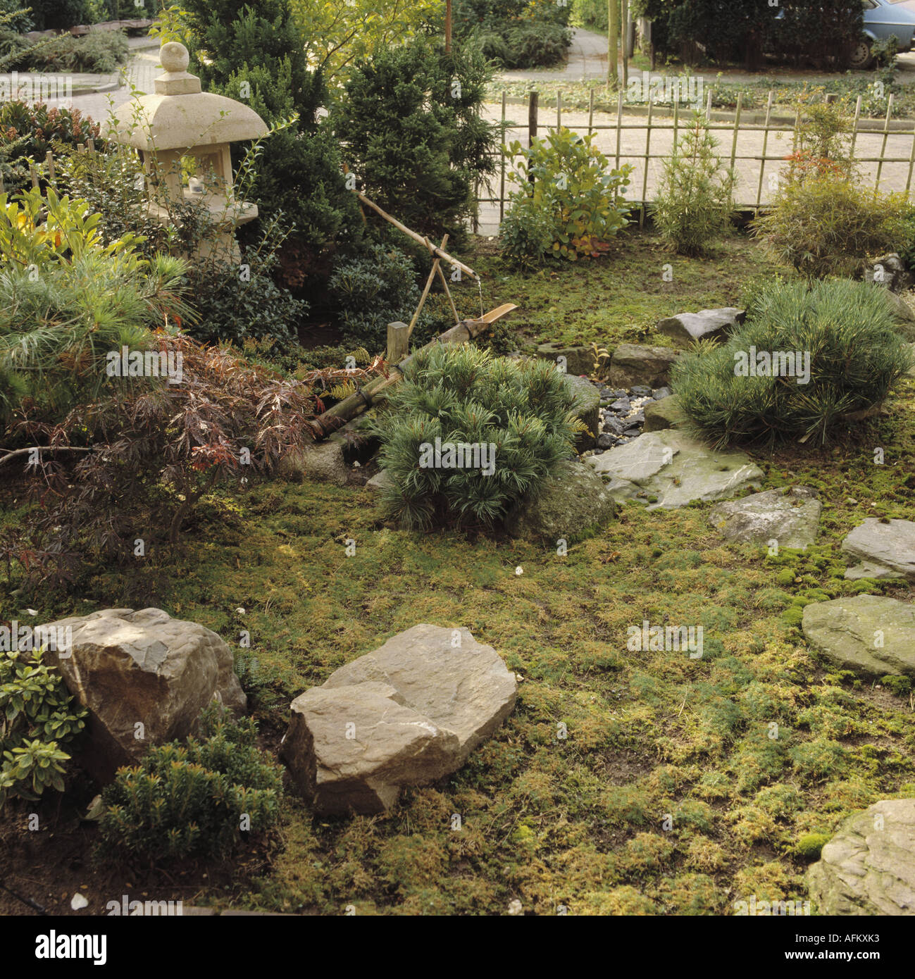 Large Natural Rocks And Small Bamboo Water Feature In Oriental Style Garden  With Japanese Stone Lantern And Low Growing Conifers