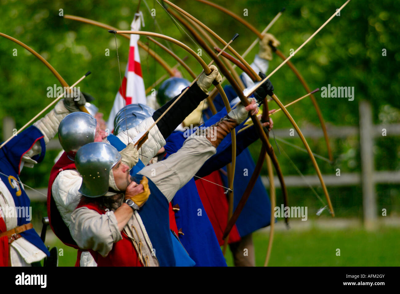 archers volley fire - Rufford Abbey Country Park living history weekend medieval life archery and combat 1472 infantry - Stock Image