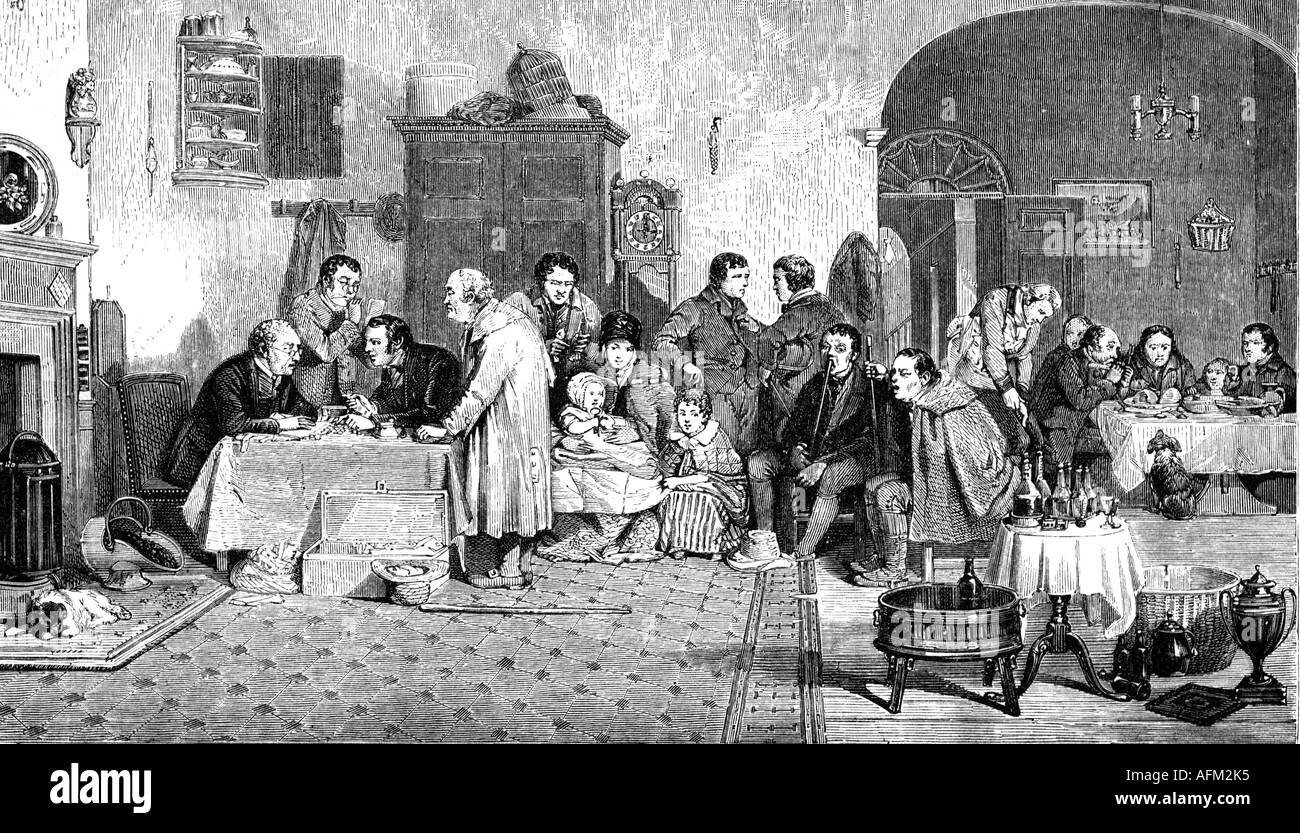 money / finances, interest, rent, 'The Rent Day', wood engraving after painting by David Wilkie, 1807, Additional-Rights-Clearances-NA - Stock Image