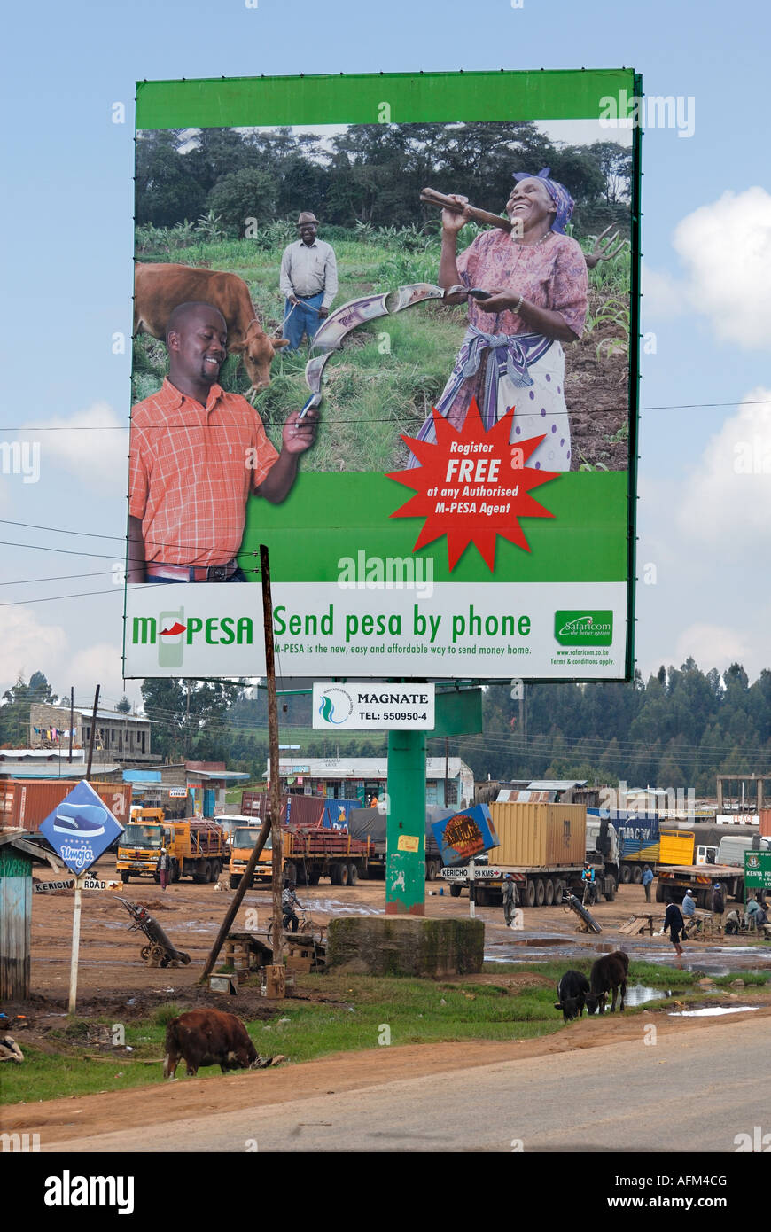 A huge advertising hoarding for Safaricom at the side of the main road at Mau Summit Kenya East Africa Stock Photo