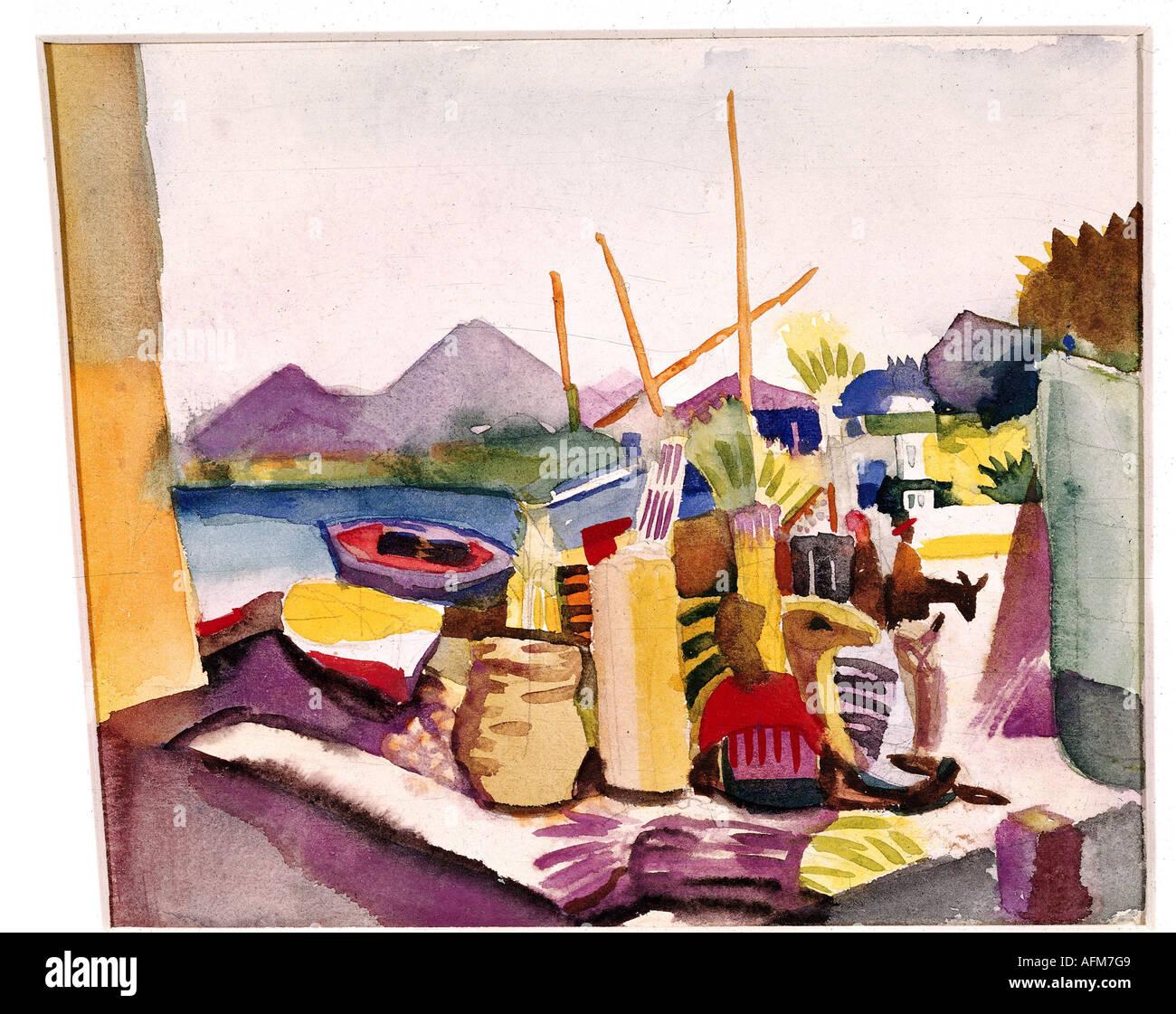 """fine arts, Macke, August (1887 - 1914), painting, ""Landschaft bei Hammamet"", (""landscape near Hammamet""), 1914, Stock Photo"