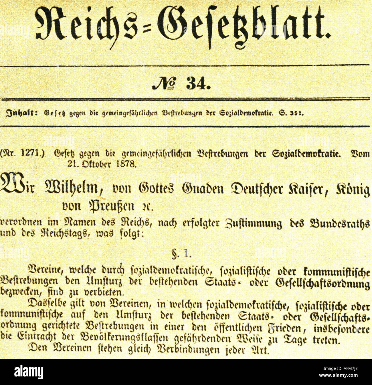 geography/travel, Germany, politics, anti socialist law, publication in Reichsgesetzblatt number 34, 21.10.1878, justice, laws, social democracy, , Additional-Rights-Clearances-NA - Stock Image