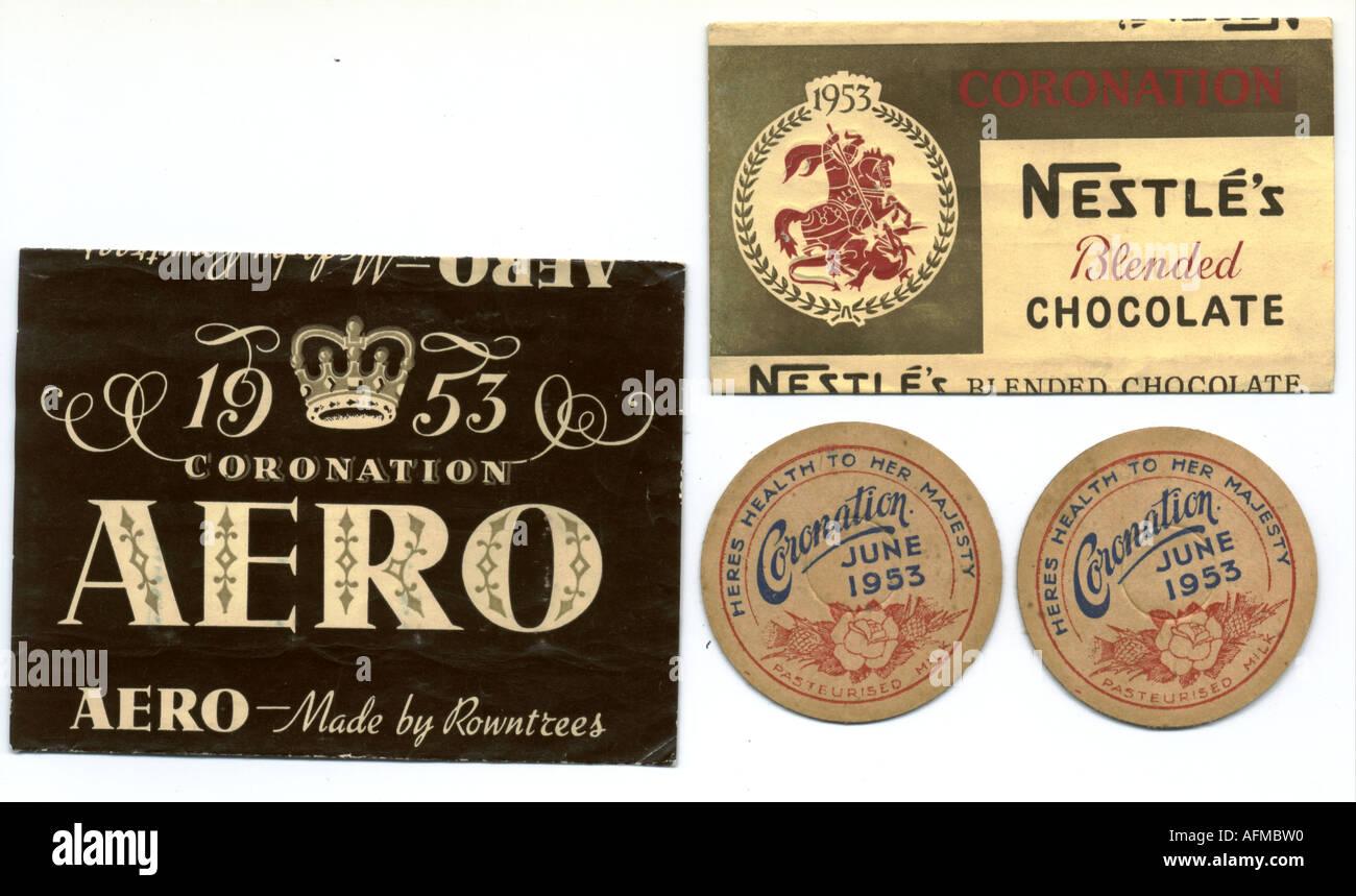 1953 Coronation food packaging - Stock Image
